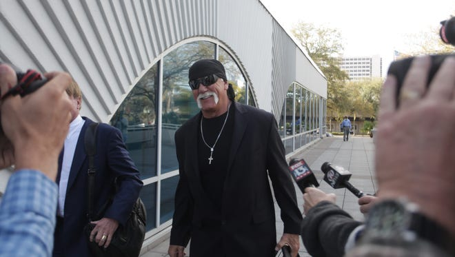 Hulk Hogan, whose given name is Terry Bollea, arrives at court Tuesday, March 8, 2016, in his case against the news website Gawker at the Pinellas County Courthouse, in St. Petersburg, Fla.