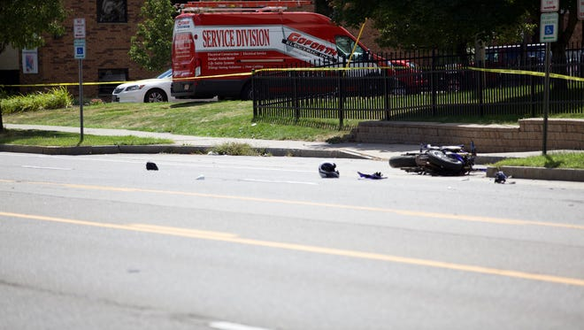 Pedestrian dead on Lake Avenue when he collided with Motorcyclist.