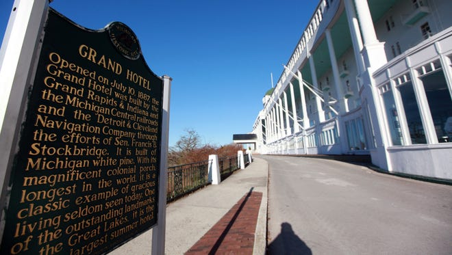 The historical marker near the 385 room Grand Hotel on Mackinac Island , which overlooks Lake Huron.