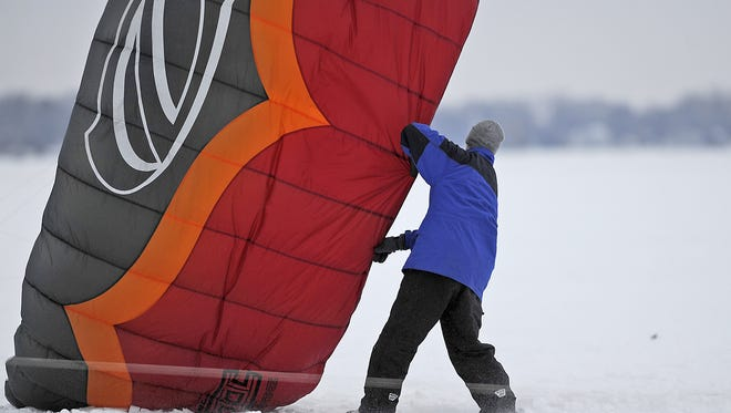 """Winter kite boarding is a popular event each year during the sturgeon festival, held in February on Lake Winnebago. The days-long festival is called """"Sturgeon Spectacular - A Celebration of Winter, and Really Big Fish."""""""
