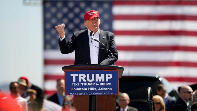 Donald Trump speaks during his rally at Fountain Hills