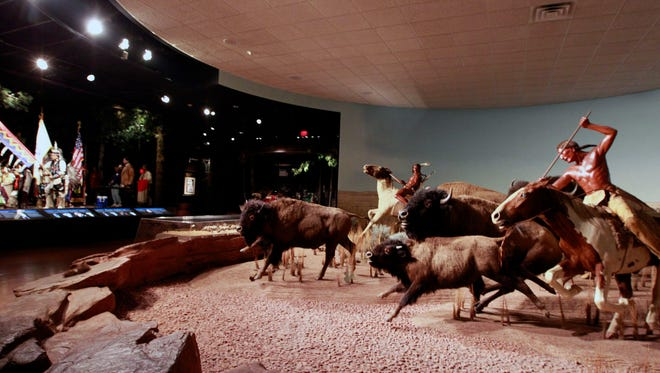 "The ""Bison Hunt on Horseback"" diorama is a permanent exhibit on second floor of the Milwaukee Public Museum."