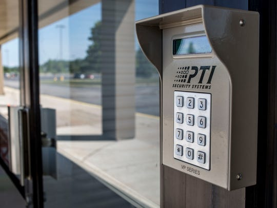 A keypad pictured outside of an entrance Wednesday,
