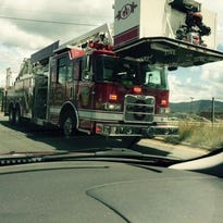 This Asheville Fire Department ladder truck responded to a wreck Wednesday afternoon on Tunnel Road near I-240.