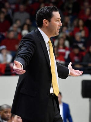 Vanderbilt coach Bryce Drew questions a call as his team plays Belmont at Belmont's Curb Event CenterMonday Nov. 13, 2017, in Nashville, TN