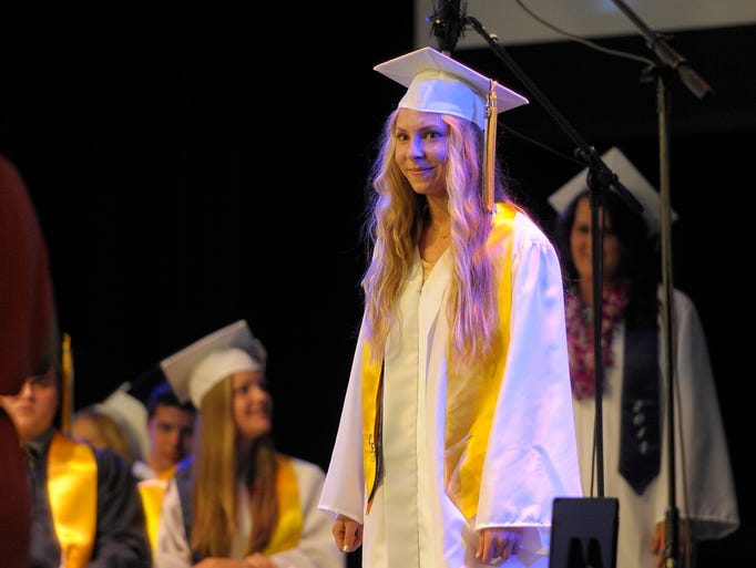 66 Central Valley Christian seniors walked through Commencement ceremonies Saturday at Central Valley Christian High School in Visalia. Emma Johnson gave the Valedictory Address. Craig Kampen, Salutatorian, read the Scripture and gave the invocation. Megan VanGrouw, Associated Student Body President, spoke about and introduced the Commencement speaker, teacher Mike Hackbarth. Emily Byrd, Senior Class President, presented the class gift.
