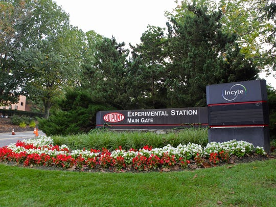 A DuPont sign sits at the entrance to the Experimental Station in Alapocas.