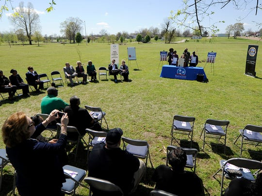 Monica Jones, from the Department of Corrections, gives the keynote address during a tree planting at Shirlene Mercer Trail Park in Jackson, Tenn., on Tuesday, April 4, 2017. Jones is the sister of Tina Stewart, a Middle Tennessee State University basketball player who was stabbed to death by Shanterrica Madden on March 2, 2011.