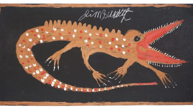 """Jimmie Lee Sudduth's """"Crocodile,"""" ca. 1996, acrylic on wood. Memphis Brooks Museum of Art; bequest of Esther Sparks Sprague; 100 Gifts for 100 Years, 1916-2016."""