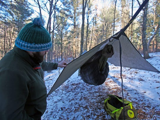 Nick Gordon shows off his hammock setup for winter