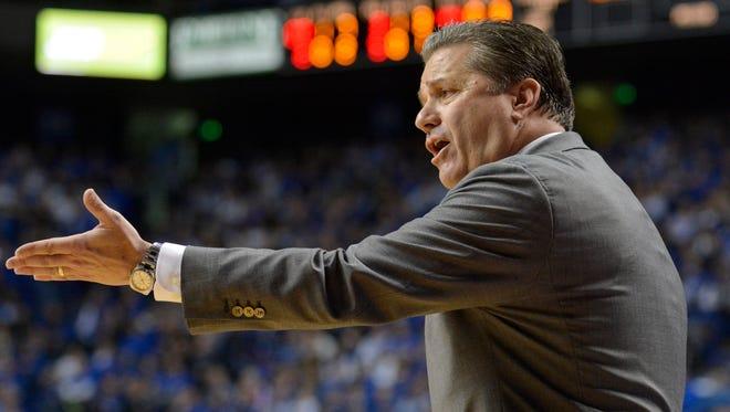 Kentucky Head Coach John Calipari complains to the referee during the second half against Vanderbilt at Rupp Arena in Lexington Tuesday Night. Kentucky won 65-57.(January 20, 2015)