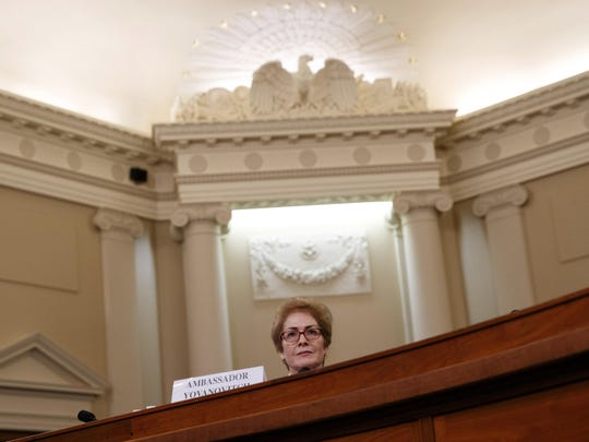 Former U.S. Ambassador to Ukraine Marie Yovanovitch testifies to the House Intelligence Committee, Friday, Nov. 15, 2019, on Capitol Hill in Washington, in the second public impeachment hearing of President Donald Trump's efforts to tie U.S. aid for Ukraine to investigations of his political opponents. (AP Photo/Jacquelyn Martin)