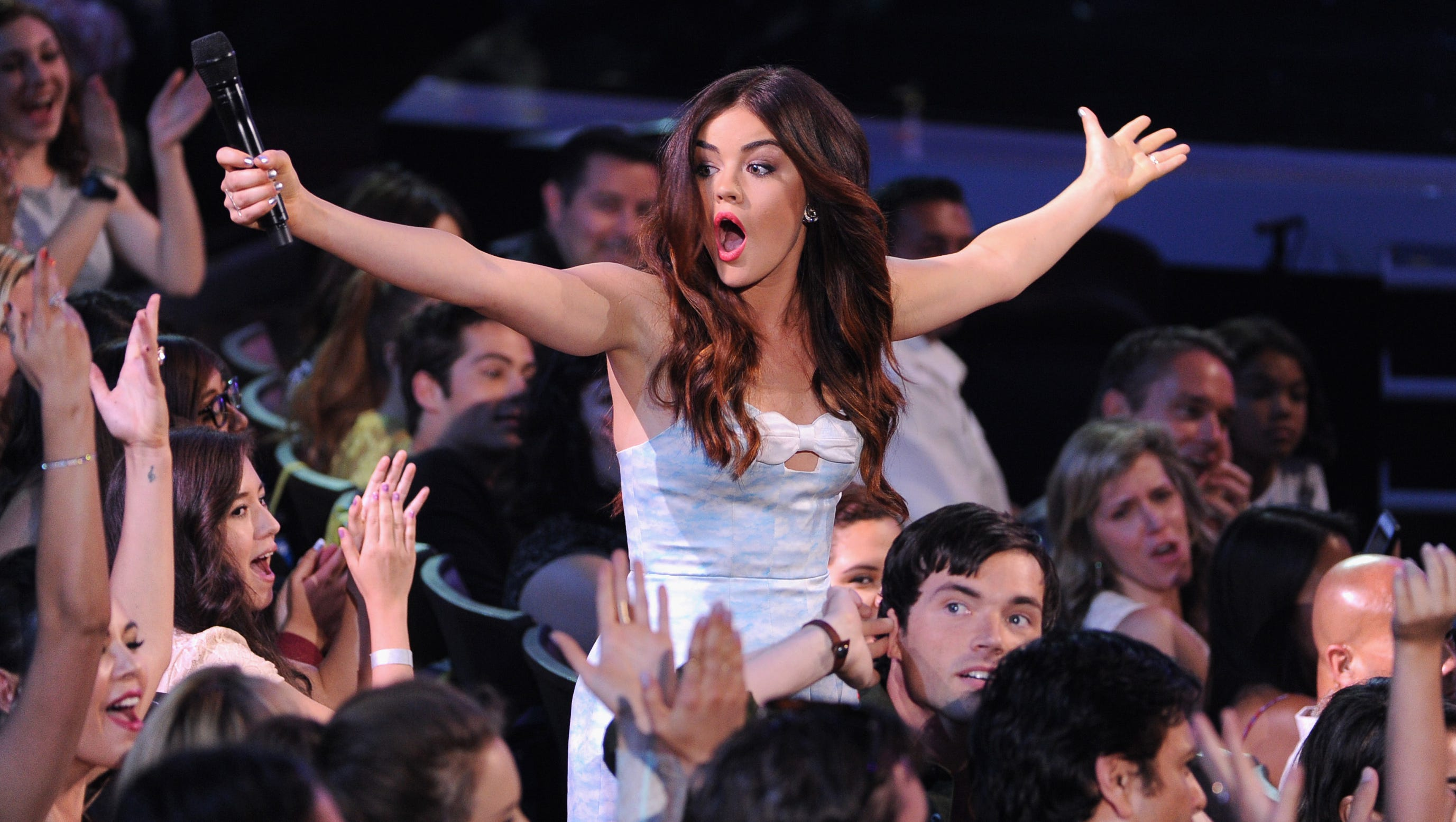 Host Lucy Hale gets the audience going.
