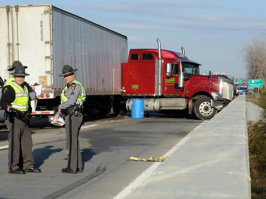 Ohio Highway Patrol investigate the scene of a multiple