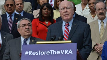 Sen. Patrick Leahy, D-VT, speaks at a press event to commemorate the 50th anniversary of the Voting Rights Act on the steps of the Capitol in Washington, D.C. on July 30, 2015.