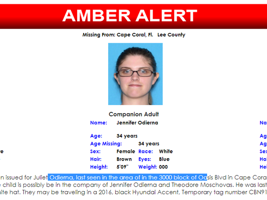An AMBER alert was set off for a missing Cape Coral