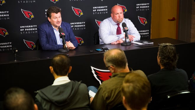 The Arizona Cardinals could be an attractive head coaching job, behind the experience of team president Michael Bidwill (left) and general manager Steve Keim.