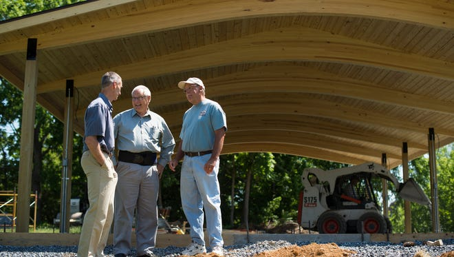 Standing in the pavilion under construction at Church of the Good Shepherd in North Cornwall Township on Thursday, June 9, 2016, are, from left, Kenneth Funk, project manager of Arthur Funk & Sons and a member of the church; the Rev. Alan Smith; pastor; and Bob Mease, volunteer and church member. Mease said that 90 percent of the work on the project was done by volunteers.