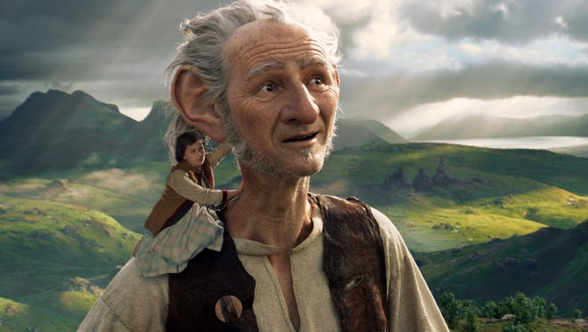 "Ruby Barnhill stars in ""The BFG"" with the Big Friendly Giant from Giant Country, voiced by Mark Rylance."