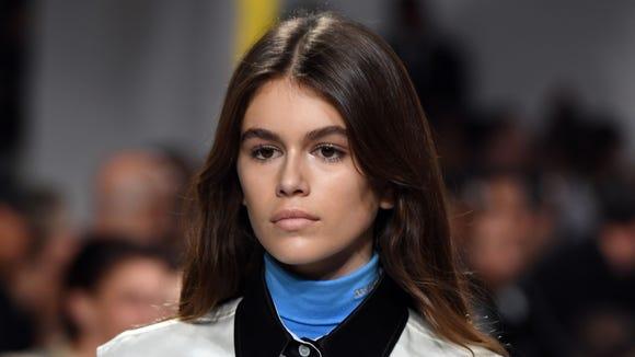 Model Kaia Gerber takes to the Calvin Klein runway