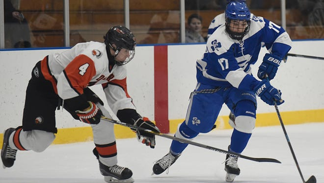Catholic Central's Ethan Ervin (right) and Brother Rice's Joe Gammicchia will lead their respective teams to action in the upcoming MIHL Showcase.