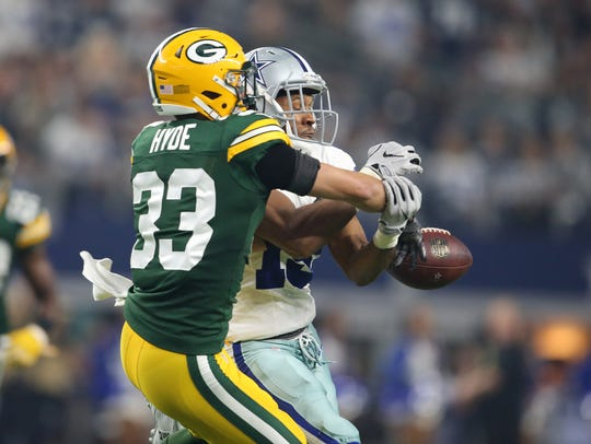 Safety Micah Hyde made eight interceptions in four