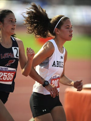 Thomas Metthe/Reporter-News Abilene High's Ashton Endsley (2007) runs in the Class 6A girls 3,200m during the UIL Track and Field State Championships on Friday, May 13, 2015, at Mike A. Myers Stadium in Austin. Endsley finished second in the race with a time of 10:25.51.