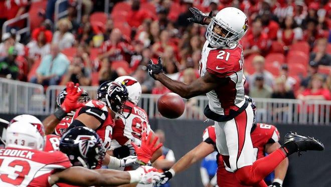 Arizona Cardinals cornerback Patrick Peterson (21) jumps for a Atlanta Falcons passed ball during the first half of an NFL football game, Saturday, Aug. 26, 2017, in Atlanta.