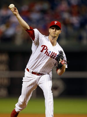 The Phillies' Kyle Kendrick pitches during the third inning Monday against the Pittsburgh Pirates in Philadelphia.