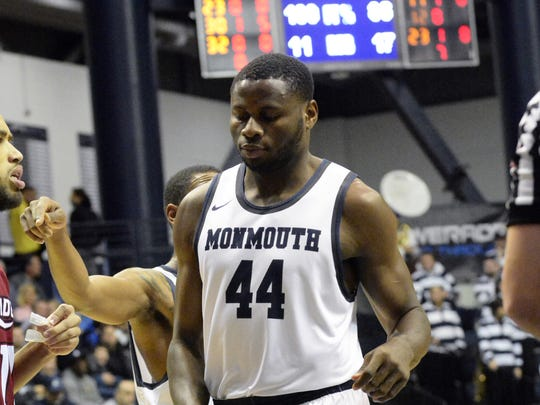 Monmouth freshman center Sam Ibiezugbe during a recent game against Rider.