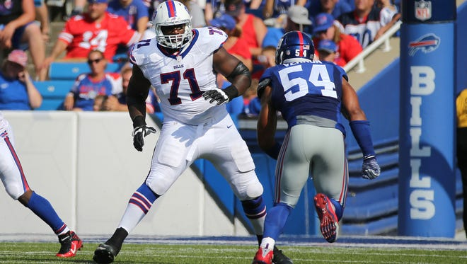 Bills Cyrus Kouandjio in action. The 2014 second-round pick from national champion Alabama could never get his career on track in Buffalo. In April, he was involved in bizarre incident with police when he was found wandering in a farmer's field half dressed.