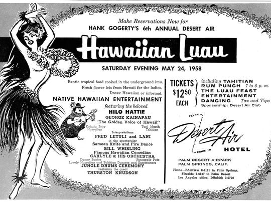 This advertisement beckons visitors to 1958's Hawaiian Luau at the Desert Air Hotel.