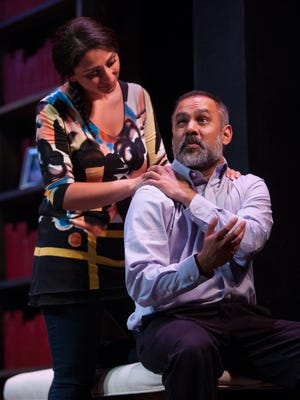 """Rasha Zamamir, as Zarina, shares a tender moment with Rajesh Bose as her father, Afzal, in Gulfshore Playhouse's production of """"The Who and the What?"""""""