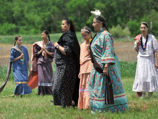 Casey Camp-Horinek leads a group of native dancers during a ceremony Thursday, May 11, 2017, in which the Nebraska Trails Foundation formally turned over nearly 20 miles of recreational trail between Beatrice and the Kansas State Line to the Ponca Tribe of Nebraska. The section will now be called the Chief Standing Bear Trail.