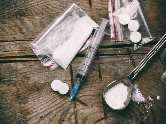 Drug, syringe and heroin