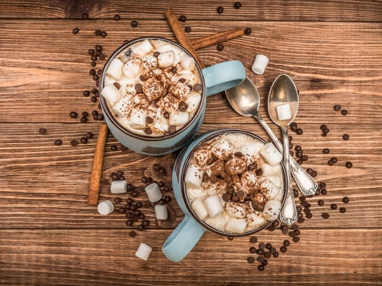 Cocoa with marshmallows and chocolate is the perfect wintertime treat.