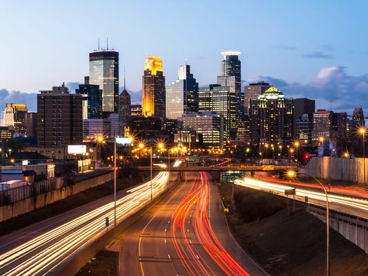 Minneapolis Skyline with Car Light Trails