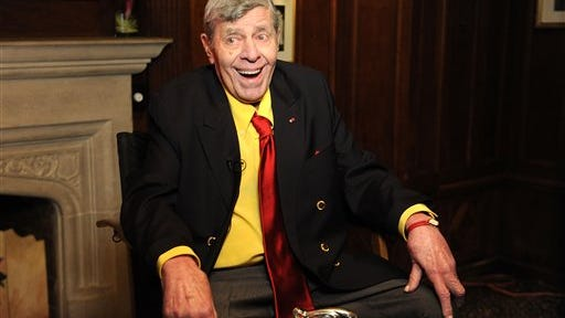 Legendary Comedian Jerry Lewis attends the Friars Club before his 90th birthday celebration on Friday, April 8, 2016, in New York. (Photo by Brad Barket/Invision/AP)