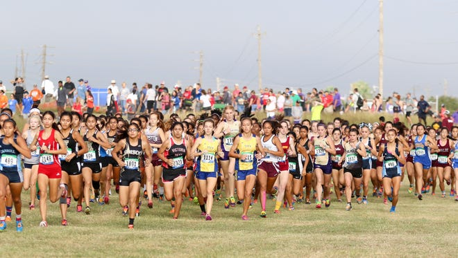 The start of the girls Class 5A race at the Region IV Cross Country Meet on Saturday, October 29th at the Dr. Jack A. Dugan Stadium in Corpus Christi.