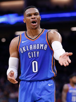 Russell Westbrook reacts after a foul call against the Sacramento Kings in the second quarter at Golden 1 Center.