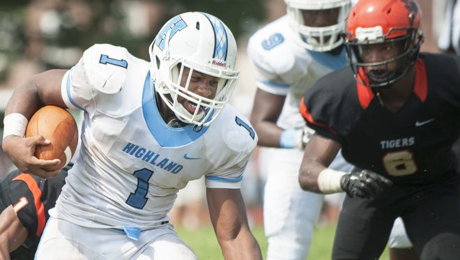 Senior running back Orlando Couincil and No. 15 Highland hit the road for the second week in a row. The Tartans will help Cherry Hill West open its new turf field Friday night.
