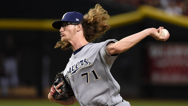 Brewers pitching prospect Josh Hader is being brought along slowly as he transitions from being a starter to a reliever.