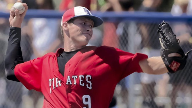 Carl Renz, shown in a photo from last season, threw a no-hitter while striking out 10 in a 1-0 win over Whitnall on Thursday.