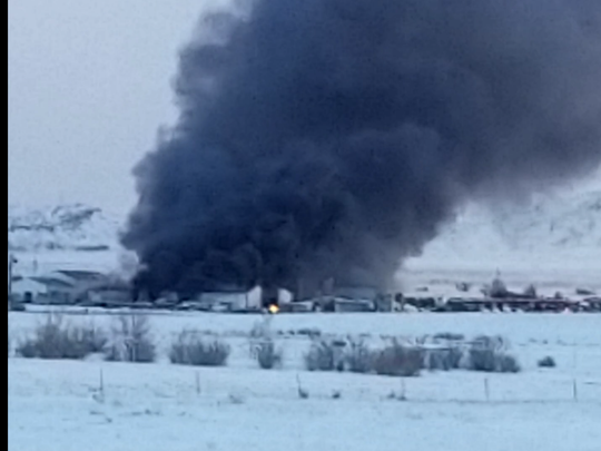 Fire crews responded to a large building fire in Havre