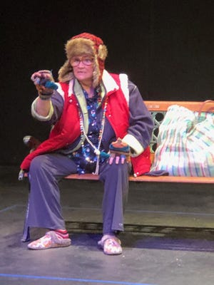 "Actor Pam Brown portrays a homeless woman in ""French Fries,"" part of the Lubbock Community Theatre production of ""Talking With..."" scheduled to be presented in digital format the weekends of Oct. 2-4 and 9-11."