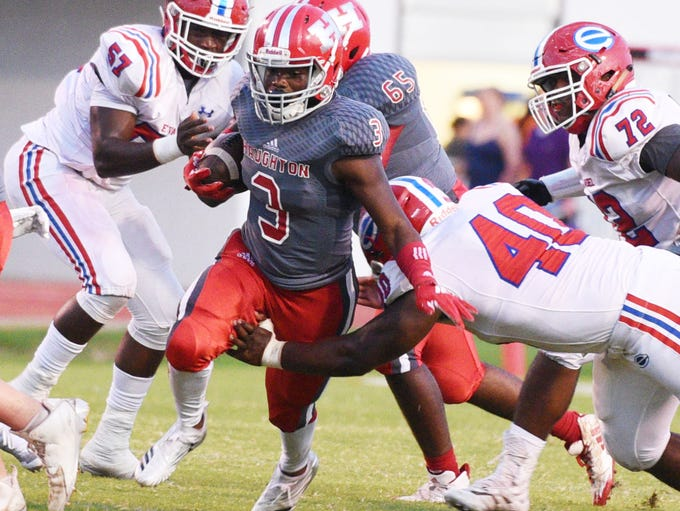 Haughton's Keyshawn Davis runs with the ball during