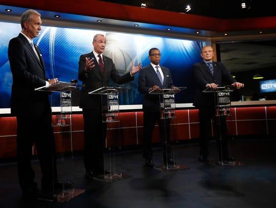 Democratic gubernatorial candidates, from left, Assemblyman