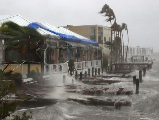 Heavy waves caused by Hurricane Matthew pounds the