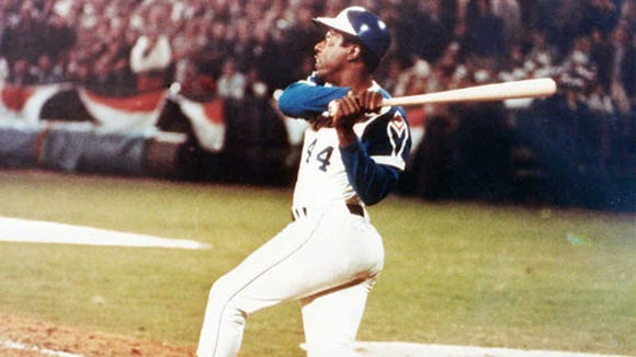 Hank Aaron's 715th homerun on April 8, 1974.