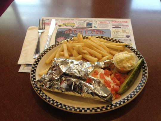 A gyro served with french fries at the Budd Lake Diner.